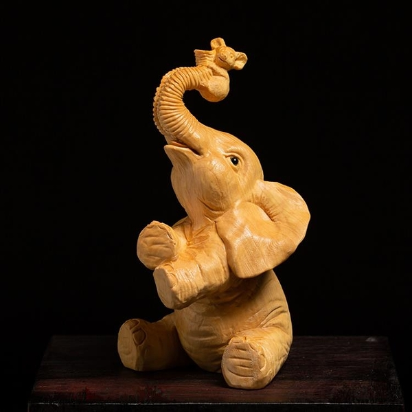 黃楊木雕招財鎮宅客廳裝飾雕刻工藝品實木大象擺件招財風水象