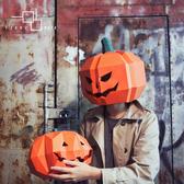 面具 南瓜頭杰克面具頭套紙質手工材料萬圣節派對造型演出裝扮道具