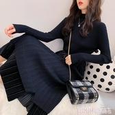 秋冬中長款毛衣裙過膝女2020新款針織連身裙洋氣上衣服法式慵懶風 極速出貨