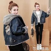 加絨加厚連帽棉衣牛仔短外套女秋冬新款時尚刺繡韓版寬鬆保暖棉服