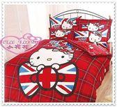 ♥小花花日本精品Hello Kitty實用英國國旗風滿滿豐富圖純棉枕頭套&床包&兩用被單人組