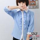 【SN-44EA】森奈健-優雅俏麗OL花邊七分袖女襯衫(水藍色直紋)