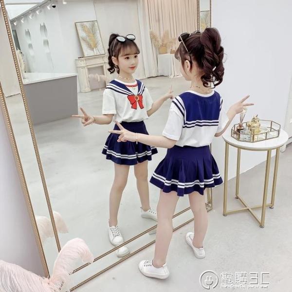 女童套裝夏裝新款洋氣夏季學院風兒童裙網紅童裝女孩兩件套潮 雙十一全館免運