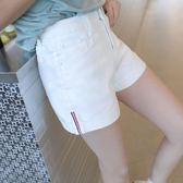 韓版高腰白色牛仔短褲 女2019夏學生大尺碼熱褲寬鬆顯瘦a字闊腿褲子