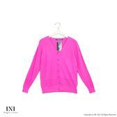 【INI】超值舒適、美型質感織紋針織外套.桃紅色