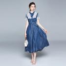 洋裝禮服連身裙3128牛仔連身裙夏季立領...