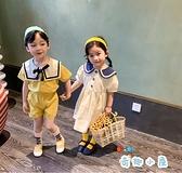兒童兩件套時尚休閒棉麻連身裙海軍風套裝【奇趣小屋】