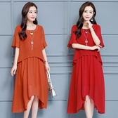 大尺碼女裝新品新款夏裝胖妹妹寬鬆中長版遮肚顯瘦假兩件雪紡洋裝(L-5XL)2色可選