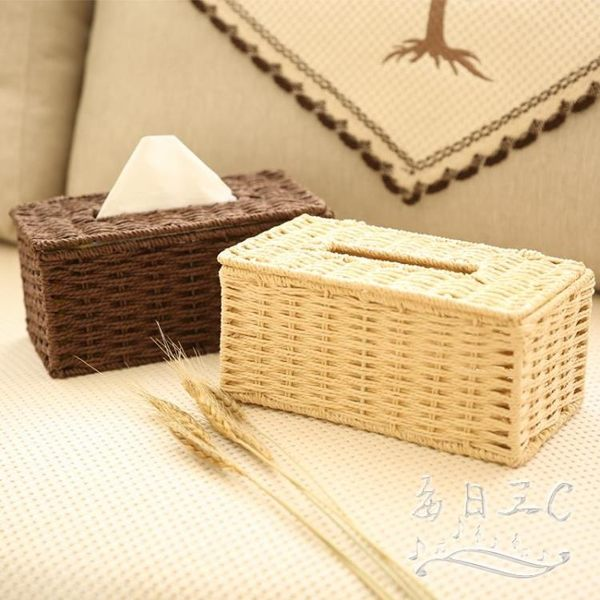 簡約編織紙巾盒客廳車載抽紙盒創意tz5208【每日三C】