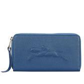 LONGCHAMP Le Pliage Cuir賽馬logo烙印荔枝紋拉鍊長夾(深藍)480807-127