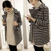 店長嚴選刷毛外套 秋冬中長雙排扣繭型千鳥格妮子大衣韓版毛呢外套加厚