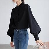 襯衫女設計感小眾秋裝新款韓版寬鬆顯瘦燈籠袖立領洋氣襯衣潮
