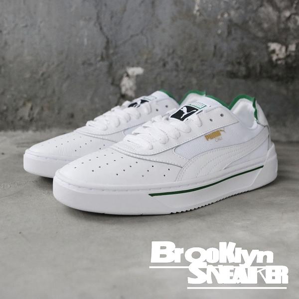 PUMA 休閒鞋 CALI  全白 綠邊 皮革 男女 情侶鞋 (布魯克林) 36933702