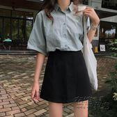 韓版chic高腰顯瘦黑色半身裙夏女新款百搭A字裙學生包臀短裙 衣櫥秘密