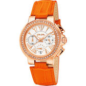 Folli Follie Watchalicious 羅馬晶鑽計時女錶-白x橘/32mm WF13B001SES-OR