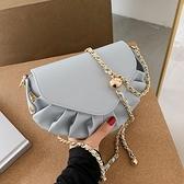 鍊條包 今年流行小包包女2021新款百搭鍊條側背包網紅時尚褶皺云朵斜背包 伊蘿