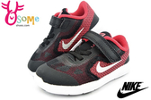 NIKE小童鞋 REVOLUTION 3 (TDV) 魔鬼氈 透氣運動鞋N7225#黑紅◆OSOME奧森鞋業