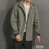 新款連帽男士中長款韓版寬鬆工裝外套原宿風春秋夾克秋裝    原本良品