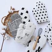 北歐棉麻烘焙加厚手套簡約黑白烤箱防燙手套微波爐隔熱耐高溫手套