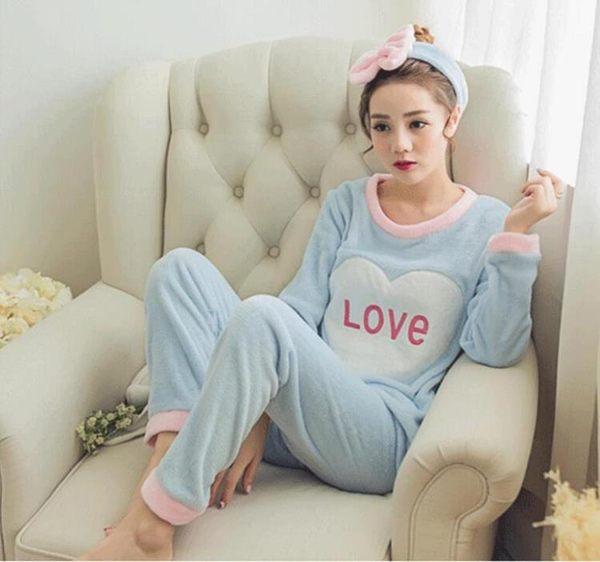 睡衣女學生韓版珊瑚絨加厚甜美可愛法蘭絨長袖家居服兩件套裝 優家小鋪