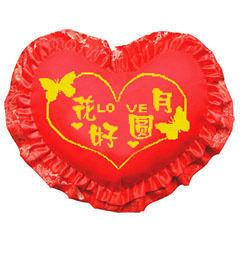 十字繡 抱枕 心型枕 吉祥如意 祝福 結婚 紅色 臥室 婚慶