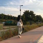 韓國chic原宿純色帆布包女文藝學生百搭書包日系ins少女帆布袋布  俏女孩