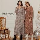 長袖 洋裝 Space Picnic|-5kg復古花高腰微透長袖洋裝(現+預)【C20114067】
