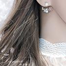 925銀針耳環 現貨 韓國氣質小清新花朵水鑽後掛耳針耳環 S92981  批發價 Danica 韓系飾品 韓國連線