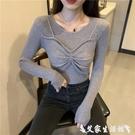 假兩件針織上衣 假兩件針織衫女秋冬2021年新款韓版修身顯瘦內搭純色外穿打底上衣 艾家