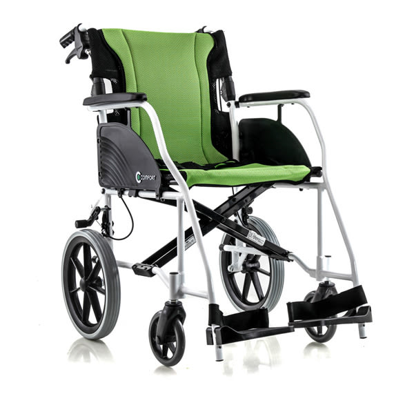 『COMFORT』康而富時尚輔具 CT-2200 鋁合金照護輪椅 兩件式可拆洗 綠色雙層坐背墊 超輕9.7KG