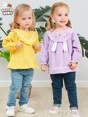 兒童防水罩 罩衣寶寶女孩吃飯防水防臟嬰幼兒童反穿衣秋冬純棉圍兜長袖燈芯絨 coco衣巷