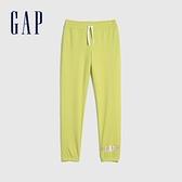 Gap女童 碳素軟磨系列 Logo法式圈織鬆緊長褲 866238-黃色