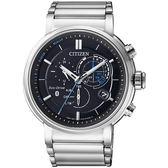 CITIZEN 星辰 GENT'S 星際航行藍芽光動能三眼計時腕錶-銀BZ1001-86E