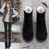 保暖雪地靴厚底粗跟加絨棉鞋防滑百搭馬丁靴女短靴子 育心小賣館