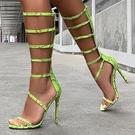 歐美新款女夜店表演高跟鞋 歐美細帶蛇紋鏤空高跟羅馬涼鞋女