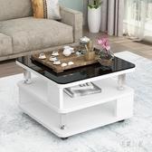 邊幾角幾小圓桌小茶幾創意玻璃臥室小方桌沙發邊幾現代簡約柜 aj5089『易購3c館』