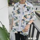 ins超火碎花襯衫網紅潮流港風chic短...