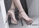 高跟涼鞋 基本款杏色蘿莉風一字  晚宴鞋 高跟鞋 新娘鞋 大尺碼35-40*Kwoomi-A63
