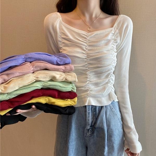 N676# 秋冬韓版花邊木耳邊褶皺針織衫女短款長袖上衣打底衫 &小咪的店&