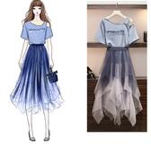 套裝裙中大尺碼網紗裙XL-5XL顯瘦减齡連衣裙胖妹妹超仙網紗裙兩件套3F088.5569皇潮天下