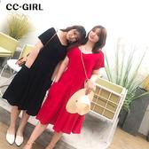 中大尺碼 一字領口袋短袖洋裝~共兩色 - 適XL~4L《 66332 》CC-GIRL