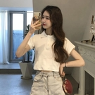 polo衫 白色短袖2020年新款夏裝網紅t恤女ins超火polo小衫短款上衣設計感