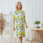【Tiara Tiara】自然純棉手繪風點印短袖洋裝(黃)