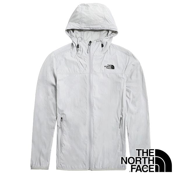 【THE NORTH FACE 美國】男 防風連帽長袖外套『淺灰』NF0A4U8X 戶外 登山 時尚 休閒 保暖 防風