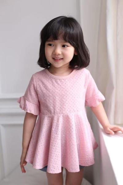 純棉 少女鏤空雕花粉洋裝 春夏童裝 女童洋裝 女童長版 女童連身裙 女童傘裙