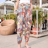 595#質檢夏季新款時尚印花百搭女裝直筒褲修身顯瘦小腳褲GT6F-646-A紅粉佳人
