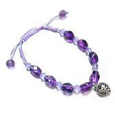 紫晶轉珠與純銀小愛心中國結手環
