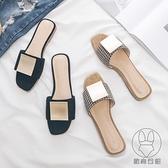 一字拖鞋夏女鞋小香風平底韓式低跟絨面外出鞋【貼身日記】