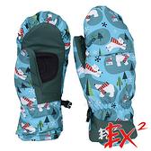 【 EX2 】青少年滑雪連指手套『灰綠』868033 休閒.戶外.保暖.保暖手套.絨毛手套.刷毛手套.青少年
