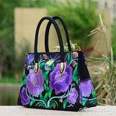 民族風包包女款刺繡手提包女士繡花側背包帆布斜背包紅花包包